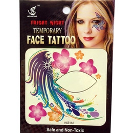 Free shipping 12pieces 8x8cm nightclub ladys party HSE14 Waterproof Temporary left and Right side eye tattoo Stickers waterprint face tattoo