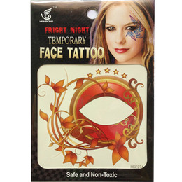 Wholesale Tattoo Sticker Factory - Free Shipping HSE027 8*8cm 12pieces Factory Direct Selling Fashion temporary face Tattoo Left and right Eye tattoo Stickers