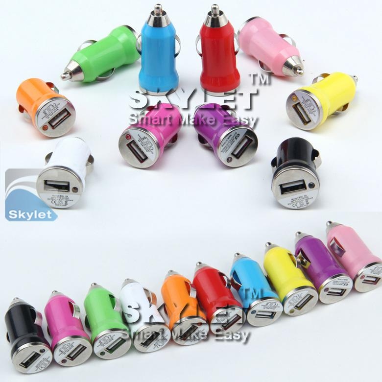 Bunte Mini-USB-Auto-Ladegerät 5V / 1A tragbare Ladegerät-Adapter-Buchse für iPhone Samsung Huawei Moto
