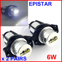 2 PAIRES E90 6W Epistar 2-LED Angel Eyes Marker Kits Canbus Erreur lampe gratuit Halo ampoule de phare au xénon blanc pour BMW E90 / E91 LCI High Power