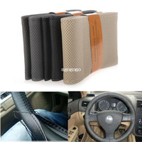 Wholesale New Leather Steering Wheel Cover - Brand New Popular DIY Car Steering Wheel Cover Artificial Leather Hand Sewing with Needle and Thread Black Beige Gray 1pc