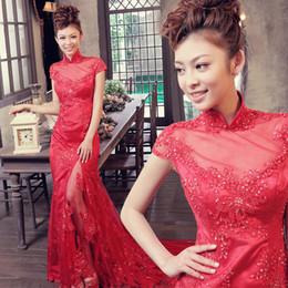Wholesale Lace Back Cheongsam - Classic Chinese Cheongsam Style High Neck Elegant Zipper Back Lace Mermaid Bridal Wedding Dress 2014 World Fashion