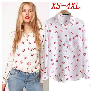 7b3cee2e179 2017 New T Shirts Autumn Fashion Women T Shirts Plus Size Chiffon T Shirt  Lips Printed Long Sleeve T Shirt Ladies Tops Clothing E68 Business Tee  Shirts ...