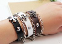 Wholesale Cute Infinity Charm Bracelets - New Unisex Bracelets Fashion Infinity Cute Alloy Cross metal chain Bracelet With Beads Rings Genuine leather hand-woven Bracelets QN128