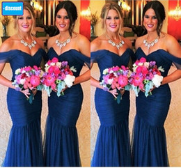 Wholesale Dress Evening Watermelon - Hot Cheap Off Shoulder Mermaid Organza Bridesmaid Dresses Royal Blue Coral Hunter Lilac Watermelon Gray Pink Elegant Mermaid Evening Dresses