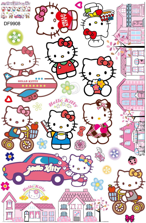 Frete Grátis Desenhos Animados Wall Stickers Crianças Quarto Menina Quarto  KT Gato ... Part 89