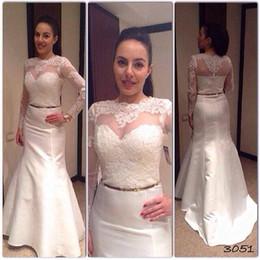 Wholesale Beautiful Long Wedding Dresses - Custom Made 2015 Beautiful Mermaid Lace Long Sleeve High Neck Wedding DressesBridal Gowns Cheap Dress