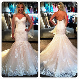 Wholesale Strapless Mermaid Corset Wedding Dresses - New Arrival 2015 Beautiful Mermaid Corset Sweetheart Strapless Lace Wedding DressesBridal Gowns Cheap Dress R115