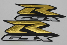 Wholesale R Stickers - KODASKIN Free shipping 2pieces motorcycle stickers decals emblem raise 3D Gold GSXR R-GSX 600 750 1000