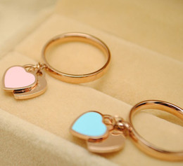 Wholesale Ring Heart Pink - Fashion brand silver rose gold stainless steel women pink blue enamel love hearts finger rings jewelry