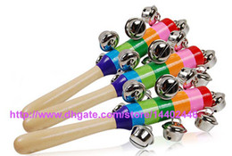 Wholesale Low Priced Christmas Toys - Lowest Price 100pcs lot Baby Rainbow Pram Crib Handle 18CM Activity Wooden Toys Ring Bell Stick Shaker Rattles Toy