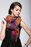 Wholesale Womens Cashmere Scarf New - New Autumn Winter Womens Colorful Plaid Scarf Tassel Scarves Lady's Faux Cashmere Pashmina