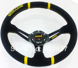 Wholesale Steering Wheel 14 Inch - Hot: 350MM MOMO Drifting Steering Wheel Suede Leather MOMO Steering Wheel Suede 14 Inches Deep Dish Racing Car Steering Wheel