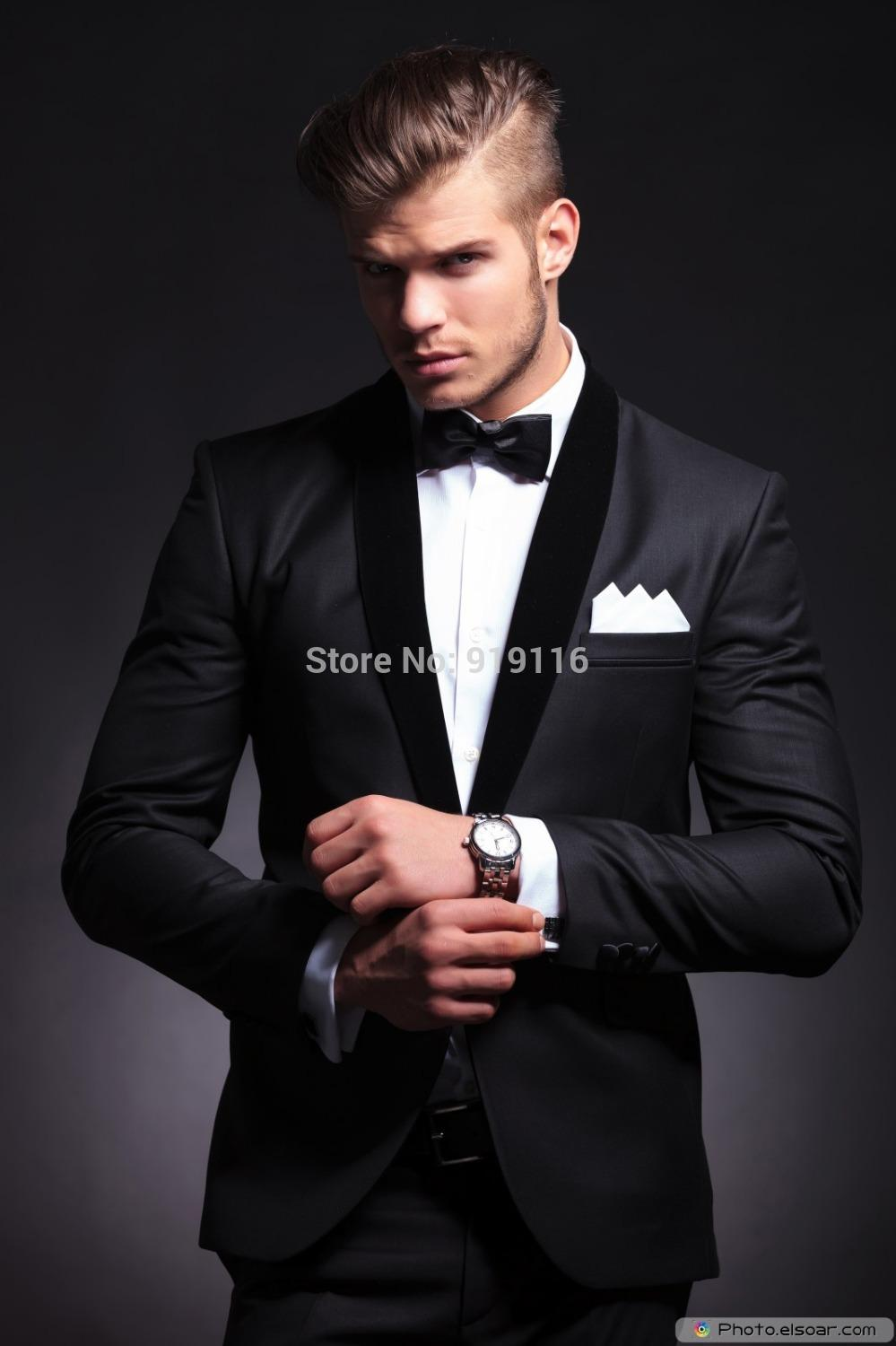 Elegant Groom\'S Wear Black Smoking Dinner Jacket/Wedding Suits For ...