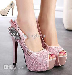 rhinestone bows Australia - sexy lace wedding pumps bow rhinestone shoes prom gown shoes pink beige stileto heels 2 colors size 35 to 39