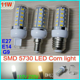 Wholesale Led Bulb E27 11w - Dimmable E27 E14 G9 11W 36 leds SMD 5730 LED Corn Light Bulb LED Lamp Warm White White lighting 110V 220V 360 degree corn bulbs with cover