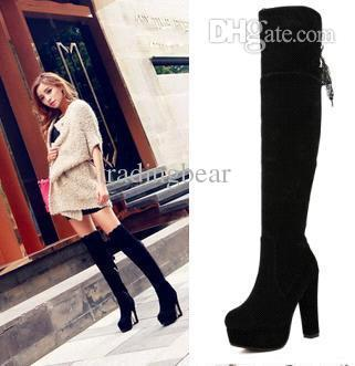 pretty nice good selling great deals New Sexy High Heel Thigh Long Boots Platform Thick Heels Over The Knee  Boots Black Suede Lace Add Plush Size 35 To 39 Boots Online Leather Boots  From ...