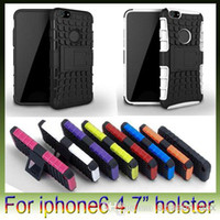 Wholesale Hard Rubber Iphone Holster - 2 in 1 Hybrid robot Stand Kickstand Holster PC Plastic Hard TPU Silicone gel rubber soft Case For iphone 6 plus iphone6
