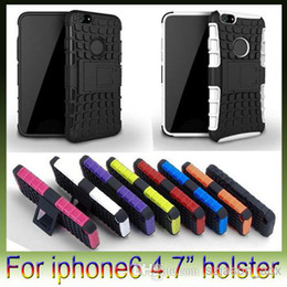 Wholesale Iphone Rubber Stand - 2 in 1 Hybrid robot Stand Kickstand Holster PC Plastic Hard TPU Silicone gel rubber soft Case For iphone 6 plus iphone6