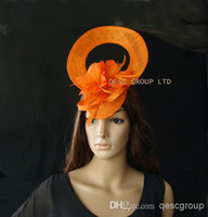 Wholesale Navy Blue Feather Hat - Sinamay Feather Fascinator hat with feather flower for Melbourne cup,kentucky derby.hot pink,navy,violet blue,orange,plum,black,red