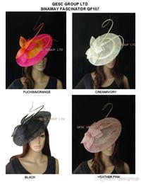 O chapéu GRANDE NOVO do fascinador de Sinamay dos pires com a espinha longa de otrich para o casamento., Kentucky derby.fuchsia / laranja, creme, preto, rosa da urze. de