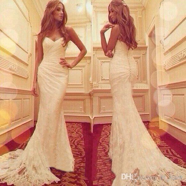 Nueva llegada de la sirena moderna de encaje vestidos de novia cariño apliques elegantes largos vestidos de novia vintage W1235 por encargo de alta calidad moda