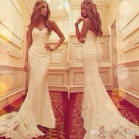 Wholesale Elegant Sweetheart Mermaid Gown - New Arrival Modern Mermaid Lace Wedding Dresses Sweetheart Applique Elegant Long Vintage Bridal Gowns W1235 Custom Made High Quality Fashion