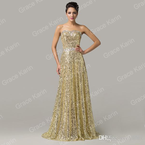 c3947f86830e Grace Karin Sexy Shining Full Lengh Strapless Party Evening Formal  Bridesmaid Golden Dress 8 Size US