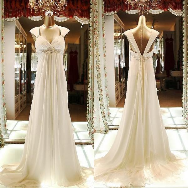 2017 Empire Maternity Wedding Dresses Chiffon Beaded Long Bridesmaid Gowns Beach Garden A-Line Wedding Guest Dresses With Crystal Sash