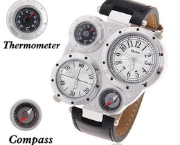 Wholesale Oulm Compass - OULM Brand Sports Watches Quartz Watch Compass Thermometer Leather Strap Wristwatches Climbing Multiple Time Zone