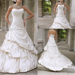 Wholesale Simple Sexy Elegant Red Dress - Hot sales Sweetehart Wedding Dresses Elegant Applique Ruffle Strapless A-line bridal dress Ball Gown wedding gown