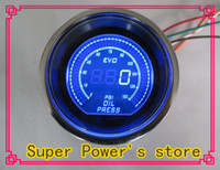 "Hot selling NEW 2"" (52mm) EVO LCD Digital Oil pressure gauge Psi reaing  Auto gauge Auto meter tachometer Car Meter Color:Red and Blue"
