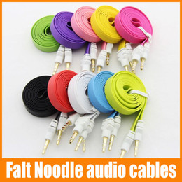 Wholesale Car Audio Mp3 Cable - Stereo Car Extension audio AUX Flat Noodle audio cables 1m 3ft Cable Cords 3.5mm male to maleFor MP3 For phone 20pcs up