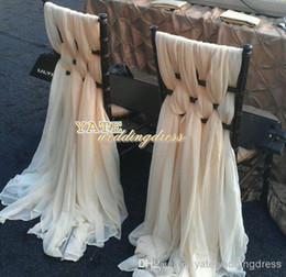 Lighting Chair Canada - Gorgeous Chiffon Ruffles Chair Sash 60 Pieces Set 2014 Wedding Decorations Anniversary Party Banquet Accessory In Stock