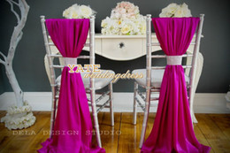 Wholesale Clear Chair Wholesale - Beautiful Chiffon Ruffles Chair Sash 50 Pieces Set 2014 Wedding Decorations Anniversary Party Banquet Accessory Free Shipping