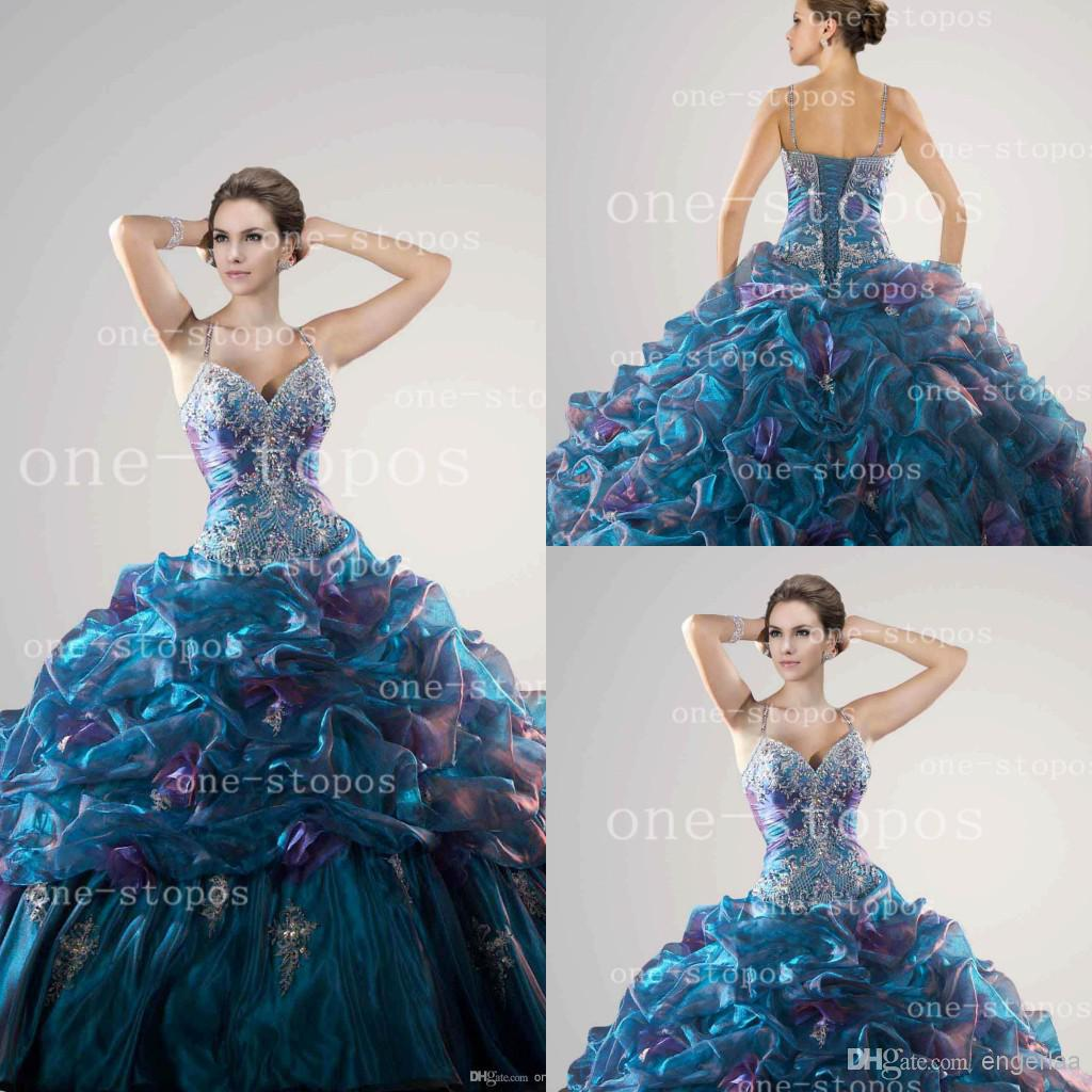 New Fashion Mix Color Luxury Drapes Prom Dresses Masquerade Ball ...