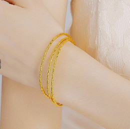 Wholesale wholesale 24k gold jewelry - fashion 6piece lot 2mm slender Bangle,24k gold plated bridal jewelry and Daily wear bracelet for women