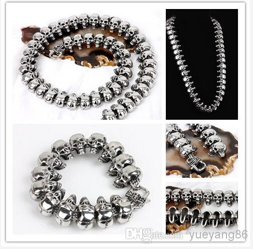 New classic punk style 24mm Heavy Men's Stainless Steel Cool Skull Heads Chain Necklace & Bracelet Set