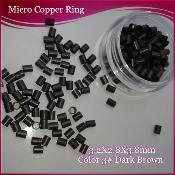 High Quality 1000Units 3.2x2.8x3.8mm Mini Lock Straight Copper Micro Tube Bead For I tip Hair Extension