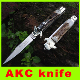 Wholesale Bone Folding Knife - Top quality New ITALIAN AKC Bone Handle D2 Steel Blade Folding AKC-01 survival knife outdoor hiking gear cool christmas gift 211L