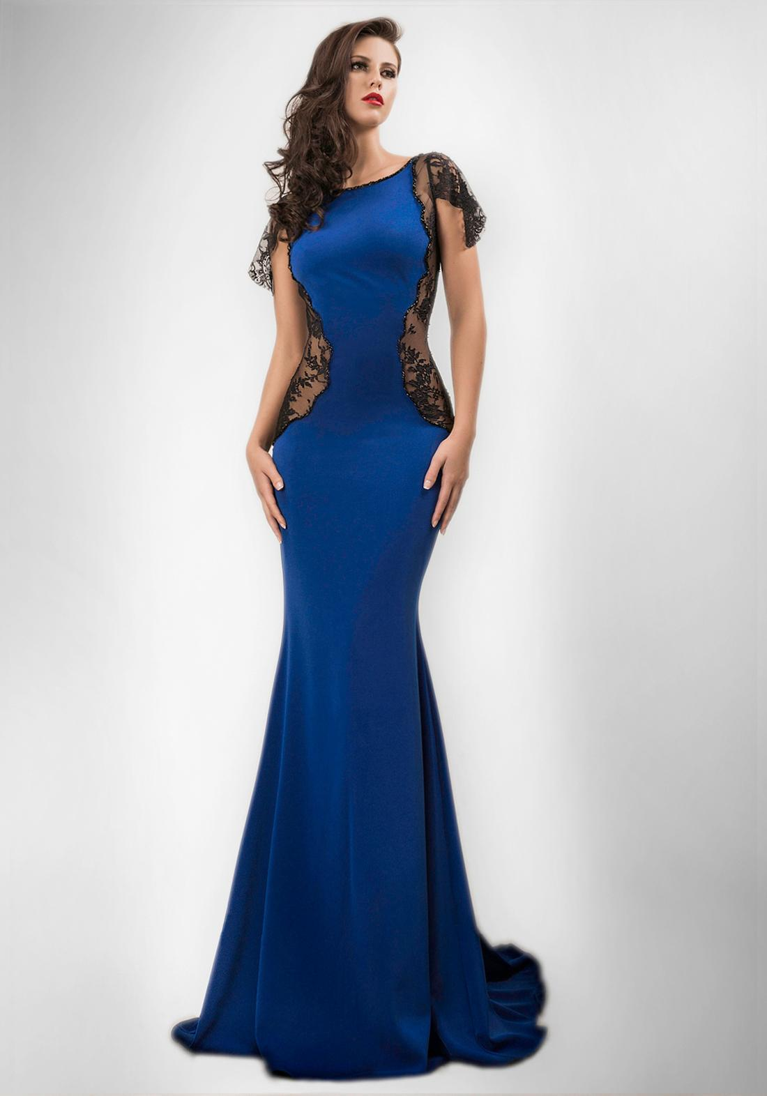 Royal Blue Mermaid Formal Evening Dress Black Lace Panel At Side ...