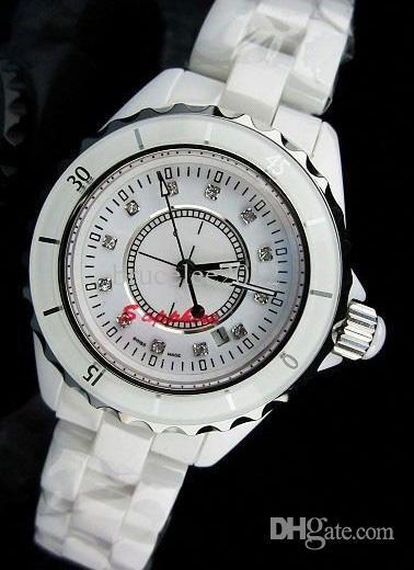 femmes de luxe montres dame suisse calssic 12 blanc en céramique diamant quartz mouvement mouvement designer de mode moderne femmes montres-bracelets