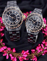 Relojes de lujo para mujer Lady Rose Gold Ceramic Black Diamond Diamond Watch Famous Brand 12 Mens Fashion Womenswatches Relojes para los amantes Regalo hombres