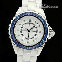 kadın beyaz kol saati toptan satış-Lüks Kadın Saatler Lady Moda Kadın 12 Mavi Elmas Çerçeve Beyaz Seramik Kuvars Spor İzle Tarih Bayan Elbise Saatı Kız Hediye Kutusu