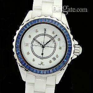 Wholesale Luxury Women Watches Lady Fashion Female Blue Diamond Bezel White Ceramic Quartz Sport Watch Date Womens Dress Wristwatches Girl Gift Box