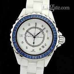 Mulheres de luxo Relógios Senhora Moda Feminina 12 Azul Bezel Diamante Cerâmica Branca De Quartzo Esporte Relógio Data Womens Dress Relógios de Pulso Caixa de Presente Da Menina de