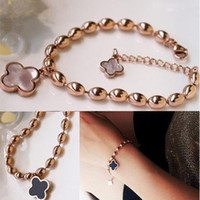 Wholesale Oval Shell Beads - Charm beads clover black white shell oval titanium 14k rose gold women beaded chain bracelet and bangle 10pieces lot free drop shipping