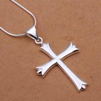 Wholesale Cross Pendant Necklace Sale - Hot Sale!Free Shipping 925 Silver Necklaces & Pendants,Fashion Sterling Silver Jewelry,Cross Necklace SMTN290