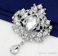ems alaşımı toptan satış-Düğün Buket Broş Renkli Rhinestone Elmas Kolye Broşlar 18 K Altın Gümüş Pimleri Akrilik Alaşım firkete charm takı EMS