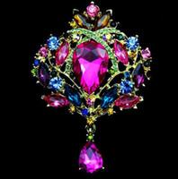 broschen anhänger porzellan großhandel-Frauen Hochzeit Bouquet Brosche Bunte Strass Diamant Anhänger Broschen 18K Gold Silber Pins Acryl Legierung Brustwarzen Charme Schmuck Geschenk